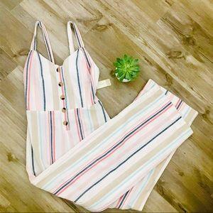 [ JAPNA] striped cotton jumpsuit bow tie back S